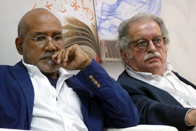 Serge Regourd (à droite) avec Patrick Chamoiseau, Oujda, 2019.